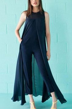 Chiffon Cropped Jumpsuit with Sheer Overlay