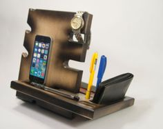 Wooden stand desk accessories wood iphone dock by DibrovaStore