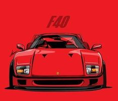 Illust by gomsu Mail Ferrari F40, Carros Lamborghini, Disney Cars Movie, Car Prints, Car Illustration, Car Posters, Car Drawings, Automotive Art, Car Engine