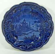 Dark Blue Transferware Staffordshire Plate