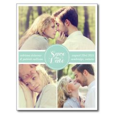 Mint Green Retro Photo Save the Date Postcard  #WEDDING #SAVETHEDATE