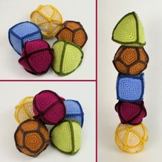 Polyhedral Balls crochet pattern  See also: Platonic Solid Skeletons in crochet  http://www.toroidalsnark.net/mkexh2005/mkexh2005-Pages/Image5.html