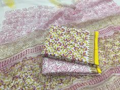 Cotton Block print suits with Pure Chiffon dupatta in Shipping FREE Payment options - Bank transfer Paytm