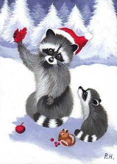 ACEO Print Raccoon Christmas Chipmunk Bird Cardinal Snow | eBay