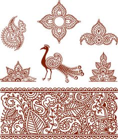 paisley motifs, abstract peacock and other designs in red