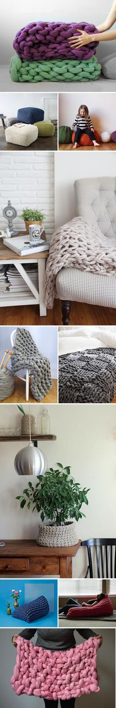 Hot Home Decor Trend: Chunky Knits to Buy or DIY - Home Decor Ideas Cozy up your home for the coldest months with fabulously fluffy knit and crochet accessories — to buy or Click through to see all our picks and projects. Crochet Accessories, Home Decor Accessories, Handmade Home Decor, Diy Home Decor, Decoration Ikea, Asian Home Decor, Arm Knitting, Home And Deco, Crochet Home