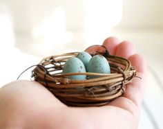 Nest Christmas Ornaments Blue Robins Eggs Tree by Fairyfolk