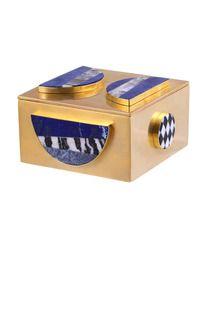 "MEMPHIS BAUBLE BOX WITH LAPIS STONES Width: 4"" Length: 4"" Height 2"" Box Depth: 2""- Kelly Wearstler"