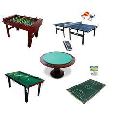 Kit para Salão de Jogos Premium - Pebolim + Sinuca + Ping Pong + Futebol De Botão + Carteado - Klopf - Cód. 1559