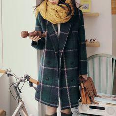 Free shopping new 2014 korean fashion winter coat women vintage green plaid wool coat elegant wool trench coat /NDY11-inWool & Blends from A...
