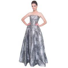 DORIAN HO-Silver Grey Mettalic Ball Gown 7d0bfb34f