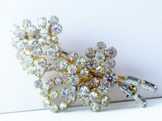 Vintage Clear Rhinestone Floral Bouquet by delightfullyvintage