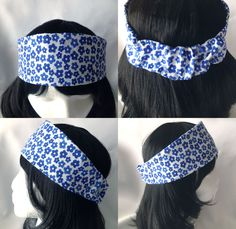 This blue and white floral broad and tapered headband is made of 100% cotton, which makes it light and breathable and perfect for the spring and summer. This headband can comfortably accommodate head circumferences of 21 to 23 inches depending on hair thickness.