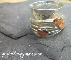 Hammered heart ring by JewelleryGina on Etsy,