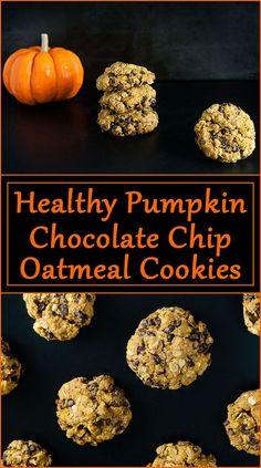 Healthy Pumpkin Chocolate Chip Oatmeal Cookies Chocolate Marshmallow Cookies, Chocolate Chip Shortbread Cookies, Toffee Cookies, Pumpkin Chocolate Chips, Chocolate Chip Oatmeal, Oatmeal Cookies, Chocolate Desserts, Pumpkin Recipes, Fall Recipes