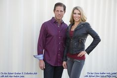 He's wearing a Robert Graham X Collection shirt with dark rinse Hudson Jeans. She's wearing a Doma leather jacket over a Michael Stars tank with Paige Jeans.  #scottsdalejeanco #sjc #winterfashion www.ScottsdaleJC.com
