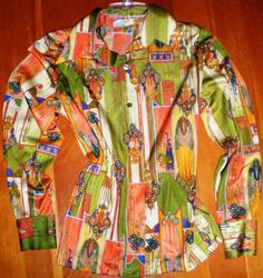Vintage Women Blouse 70s Orange Blue Avocado Green by BagsnBling, $12.00