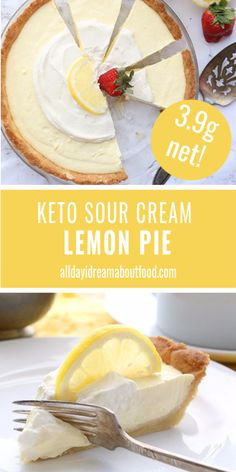 Creamy tangy and delicious this keto lemon pie will have your tastebuds singing. With a simple low carb press in pie crust and a rich sour cream filling its sugar-free pie happiness. Keto Desserts, Dessert Recipes, Desserts For Diabetics, Soup Recipes, Breakfast Recipes, Chicken Recipes, Recipies, Dinner Recipes, Sour Cream