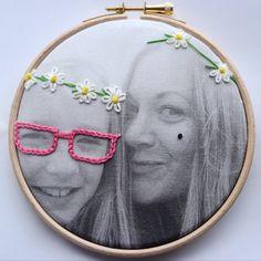 Photo embroidery hoop art graffiqué by DitzAndBobs on Etsy
