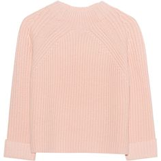 iHEART Carolin Cream Blush // Wool cashmere knit sweater found on Polyvore featuring tops, sweaters, short cropped sweaters, cropped sweater, roll top, heavy wool sweaters and heavy sweaters
