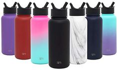 Simple Modern Summit Water Bottle with Straw Lid - Wide Mouth Vacuum Insulated Stainless Steel Powder Coated Water Bottle With Straw, Water Bottles, Stainless Water Bottle, Matte Powder, Water Walls, Insulated Tumblers, Modern, Vacuums, Simple