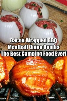 Wrapped BBQ Meatball Onion Bombs - Best Camping Food Ever! Awesome Bacon Wrapped BBQ Meatball Onion Bombs – Greatest Tenting Meals Ever!Awesome Bacon Wrapped BBQ Meatball Onion Bombs – Greatest Tenting Meals Ever! Best Camping Meals, Camping Foods, Camping Hacks, Camping Cooking, Camping Checklist, Camping Essentials, Camping Appetizers, Tent Camping, Glamping