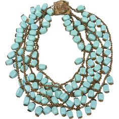 Preowned Miriam Haskell 4 Strand Turquoise Glass Bead And Antiqued... ($2,200) ❤ liked on Polyvore featuring jewelry, necklaces, accessories, blue, egyptian jewelry, egyptian necklace, turquoise bead necklace, glass bead necklaces and floral necklace
