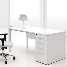 Contemporary-office : Office Modern Home Office Design With White Computer Desk ~ Glubdub Small Office Desk, White Desk Office, White Desks, Home Office Desks, Office Table, Ikea Office, White Desk Design, Modern White Desk, Modern Desk Chair