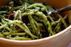 Zucchini Noodles with Pesto with sun-dried tomatoes (zucchini, basil, olive oil, garlic, salt, sun-dried tomatoes)