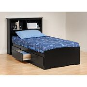 Prepac Brisbane Twin Platform Storage Bed with Headboard, Black