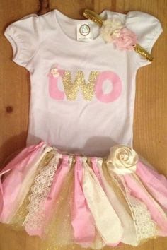 Pink and Gold 2nd Birthday Tutu Outfit by ScrapHappyTutus on Etsy