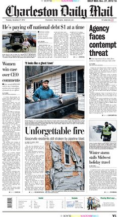 Thursday's Page One leads off with the threat of contempt charges against the state's Department of Health and Human Resources if the agency fails to comply with a court order to grant pay raises for staffers caring for the mentally ill. The centerpiece features the stories of Sissonville residents still shaken by last month's gas pipeline explosion as they try to return to their old lives.