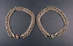 Pair of old Indian silver anklet from India by ethnicadornment