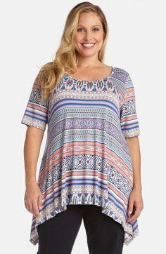 Karen Kane 'Halcyon Stripe' Handkerchief Top (Plus Size) | Nordstrom #Karen_Kane #Plus_Size_Fashion #Nordstrom