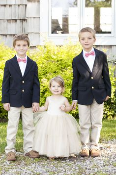 These Ring Bearers and Flower Girl are just so cute! See the wedding on SMP:  http://www.StyleMePretty.com/new-england-weddings/2014/03/12/tented-garden-wedding-in-westbrook-connecticut/ Tanya Salazar Photography