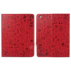 Fashionable Cute cartoon pattern Leather Case for iPad Air - Red US$15.99