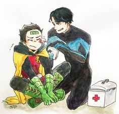 hii gotoo its me, sam, again! i was wondering if i can request a drawing of dick grayson (nightwing) and damian wayne (robin) ? x Hi sam :) Thank you for waiting here you are. Damian Wayne Batman, Son Of Batman, Batman Family, Batman Robin, Nightwing, Batgirl, Red Hood, Tim Drake, Jason Todd