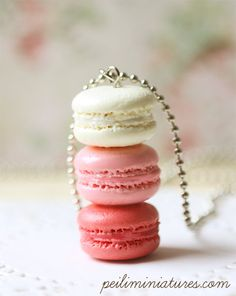 Macaron Jewelry - Trio Macarons Necklace - Pink Sweetie - Holiday Gift. $25.90, via Etsy.