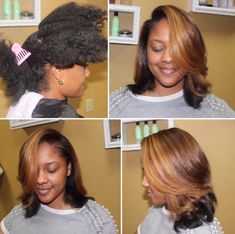 Pressed Natural Hair, Dyed Natural Hair, Dyed Hair, Black Girl Hair Cuts, Hair Color For Black Hair, Natural Hair Blowout, Blowout Hair, Natural Hair Highlights, Afro