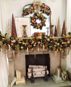 55 Amazing Christmas Fireplace Mantel Decoration Ideas - About-Ruth Elegant Christmas, Noel Christmas, Rustic Christmas, Beautiful Christmas, Christmas Wreaths, Christmas Villages, Victorian Christmas, White Christmas, Vintage Christmas