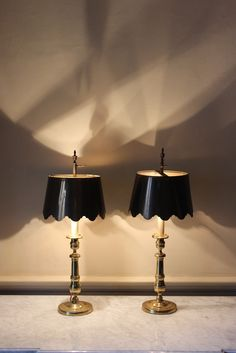 Fine pair of 1930s Brass Table lamps with bespoke shades