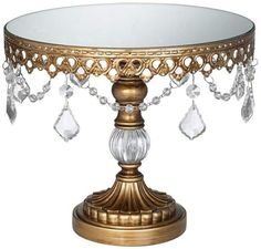NEW Cake Stand Round Beaded Wedding Gold Crystal Decor Display 8.5 Elegant Riser