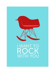 Eames poster print  I Want To Rock With You  Red Large by yumalum, $55.00