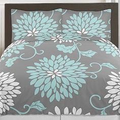 Turquoise Blue, Grey and White Ella Floral 3pc Girls Teen Full / Queen Bedding Set Collection by Sweet Jojo Designs