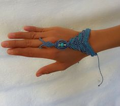 Tribal Macrame  Ring Bracelet Slave with turquoise/coral stone - adjustable