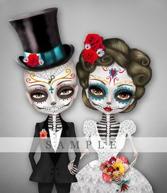 Custom illustration - Sugar Skull Wedding - Day of the Dead
