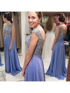 2017 Beaded Long  Lavender Prom Dress