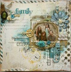 Mixed Media Scrapbook page by Gabrielle Pollacco made with Bo Bunny 'Woodland Winter Collection' TO WATCH VIDEO TUTORIAL ON THIS PAGE (click on photo)