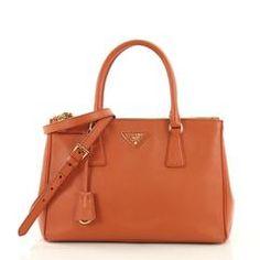 f9d37d5961cb Prada Double Zip Lux Tote Saffiano Leather Small Orange 392071 Prada