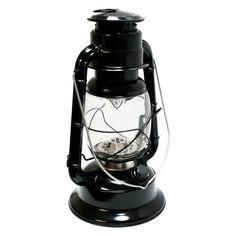 "Gerson 41440 - 11.5"" x 7"" Black Metal 17 LED Hurricane Lantern | eLightBulbs.com"